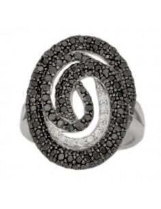 Bague spirale avec des diamants noirs et blancs en argent