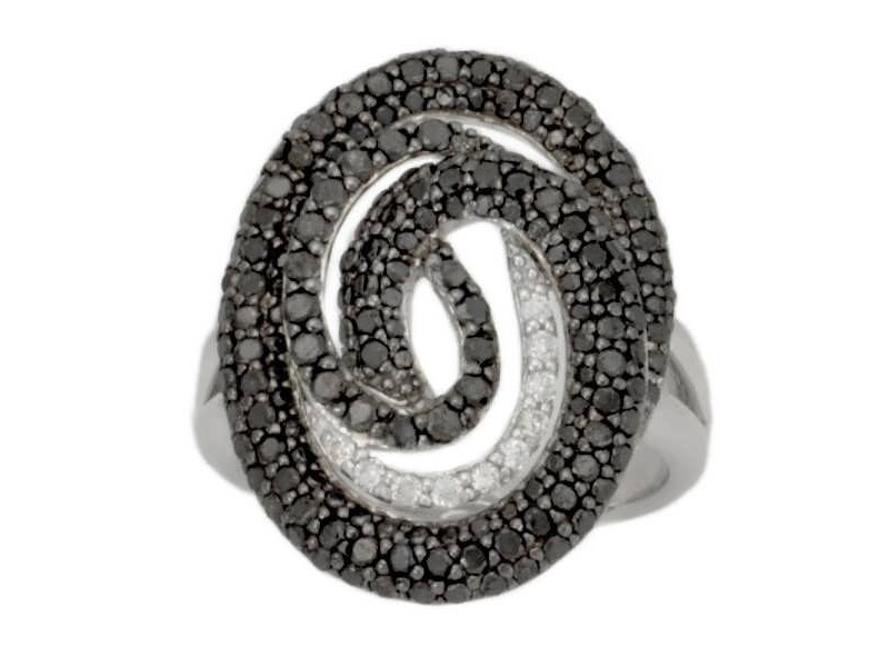 Pave set black and white diamonds spiral ring in silver