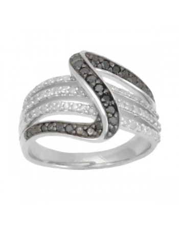 Pave set black and white diamond shaped ring in silver