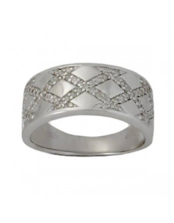 Plait of diamonds ring in silver