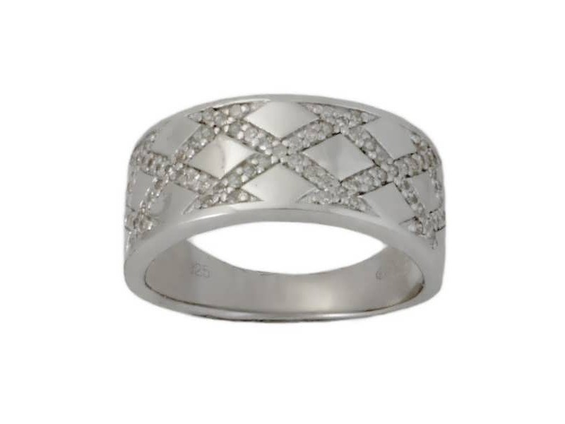 Bague tresse de diamants sertis grains en argent