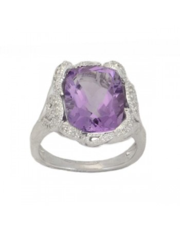 Amethyst and diamond vintage style ring in silver 925/1000