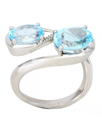 Blue topaze and diamond vintage style ring in silver 925/1000