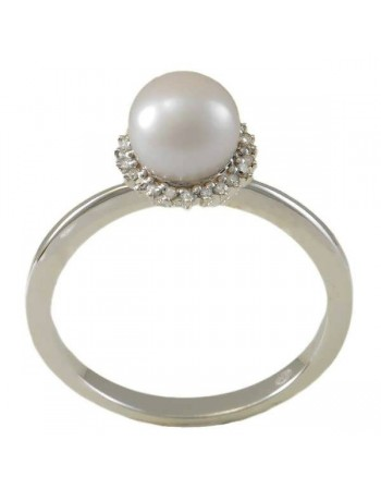 Diamond halo fresh water pearl ring in silver 925/1000