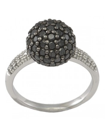 Pave set black diamond sphere ring in silver