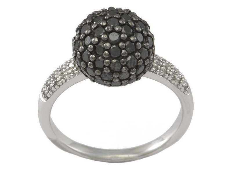Pave set black diamond sphere ring in silver 925/1000