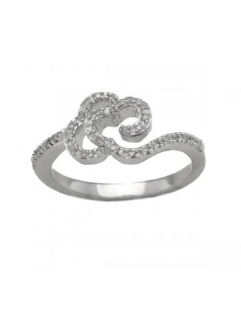 Ring with diamonds in silver