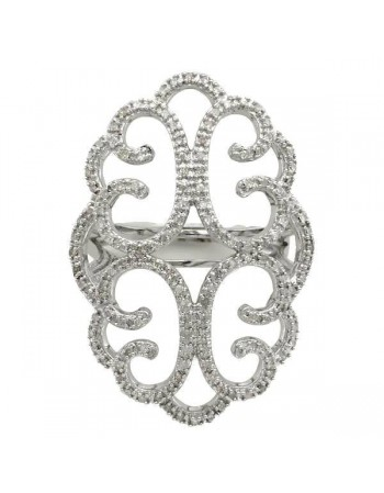 Filigree ring diamonds in silver 925/1000