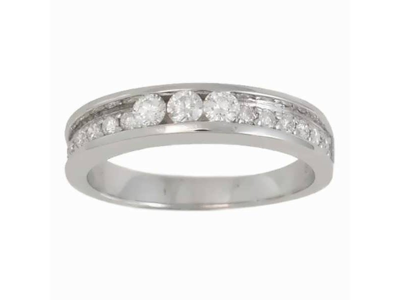 White diamond channel set wedding ring in 9 K gold