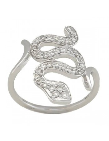 Bague serpent pavé diamants en or blanc