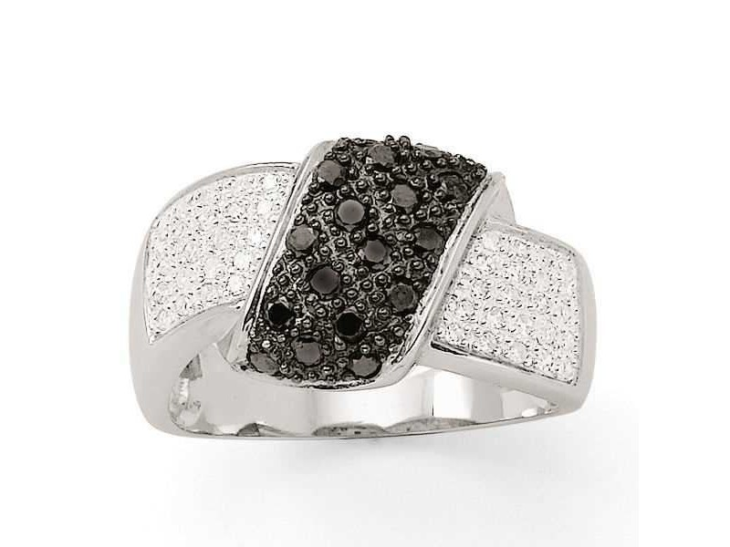 Crossover pave set ring with black and white diamonds in silver