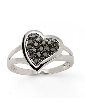 Heart ring with black diamonds in 18 K gold