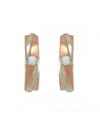 Two-colour diamond earrings in 9 K gold