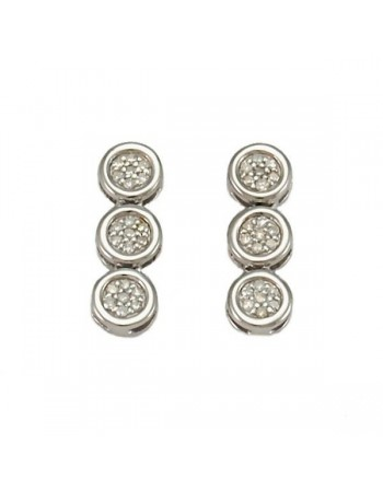 Cluster set diamond stud earrings in silver 925/1000