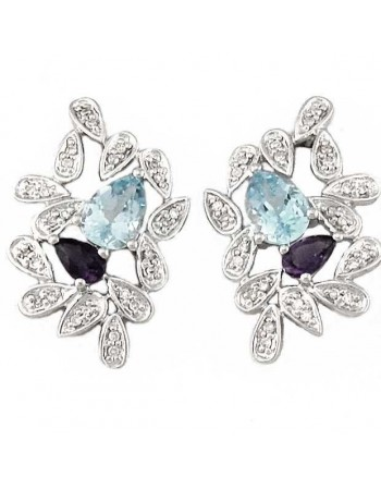 Sapphire et topaze leaves earrings with diamonds in silver 925/1000