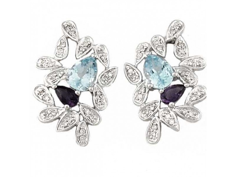 Sapphire et topaze leaves earrings with diamonds in silver