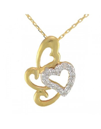 Collier coeur avec diamants en or jaune