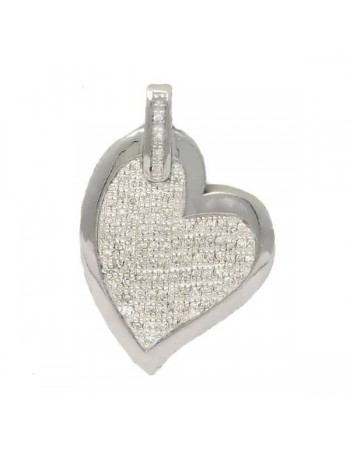 Pave set diamond heart pendant in silver 925/1000