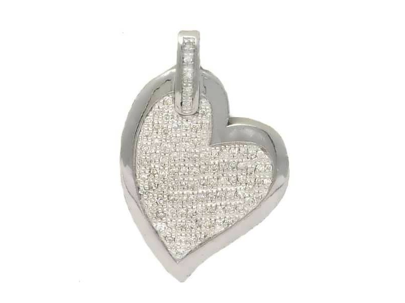 Pave set diamond heart pendant in silver