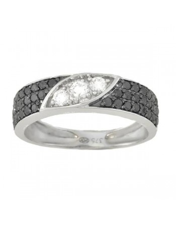 Pave set black and white diamond ring in 9 K gold