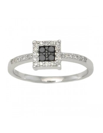 Bague carrée diamants noirs et blancs en or blanc