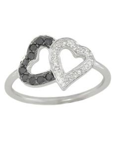 Bague coeurs diamants noirs et blancs en or blanc