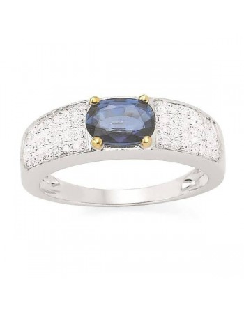 Large ring with sapphire sided with diamonds in 9 K gold