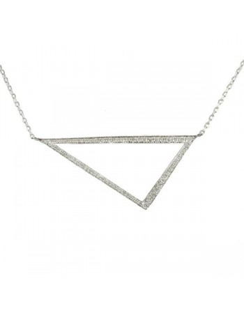 Triangle pave set diamond neckalce in 9 K gold