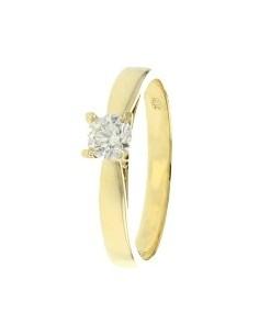 Solitaire diamant monté sur 4 griffes en or jaune