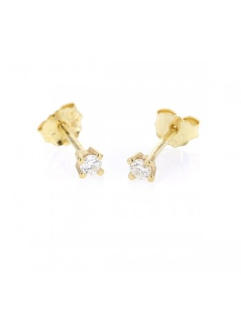 Boucles d'oreilles clous, diamants montés quatre griffes en or jaune