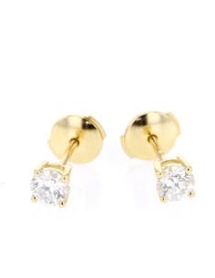 Boucles d'oreilles clous, diamants montés quatre griffes en or jaune