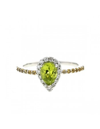 Pear shape peridot halo ring with citrines and diamonds in 9 K gold