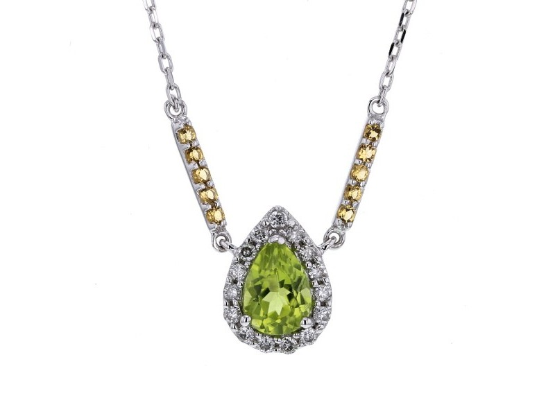 Pear cut peridot and citrine and diamonds necklace in 9 K gold