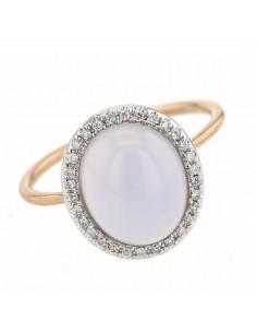 Diamond halo chalcedony ring in 9 K gold