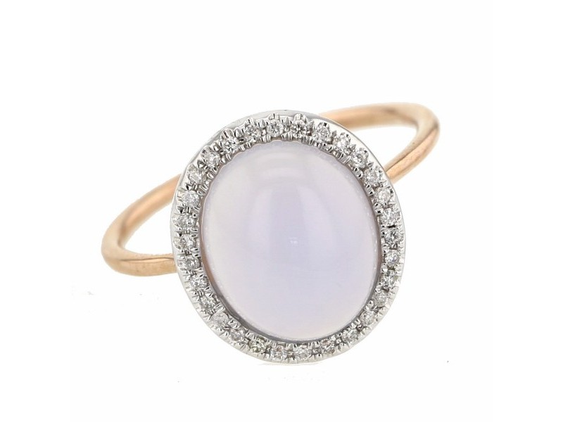 Diamond halo chalcedony ring in 9 K gold