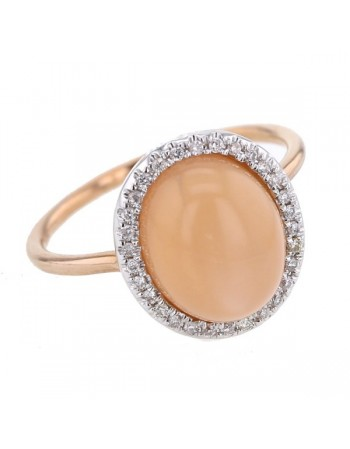 Bague pierre de lune orange et diamants en or rose