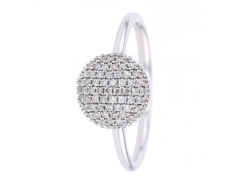 Pave set round cushion ring in 9 K gold