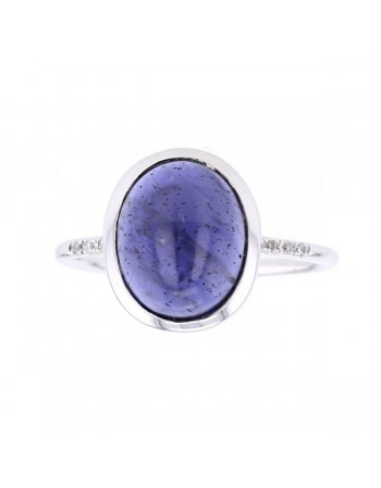Bague iolite et diamants en or blanc