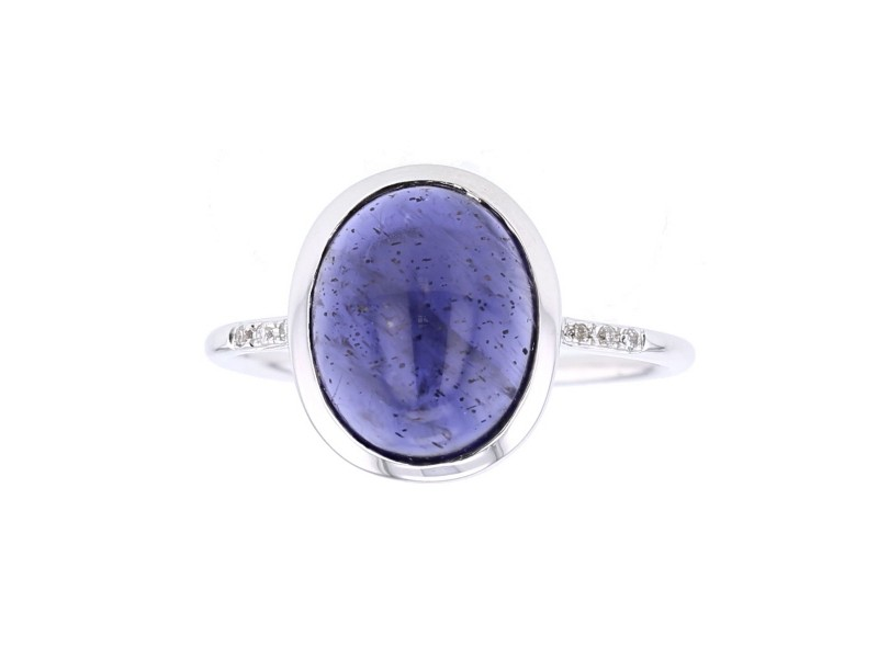 Iolite and diamonds ring in 9 K gold