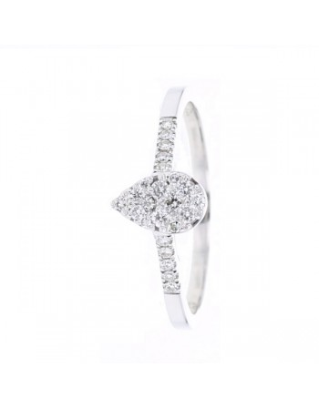 Bague coeur sertis intelligents en or blanc