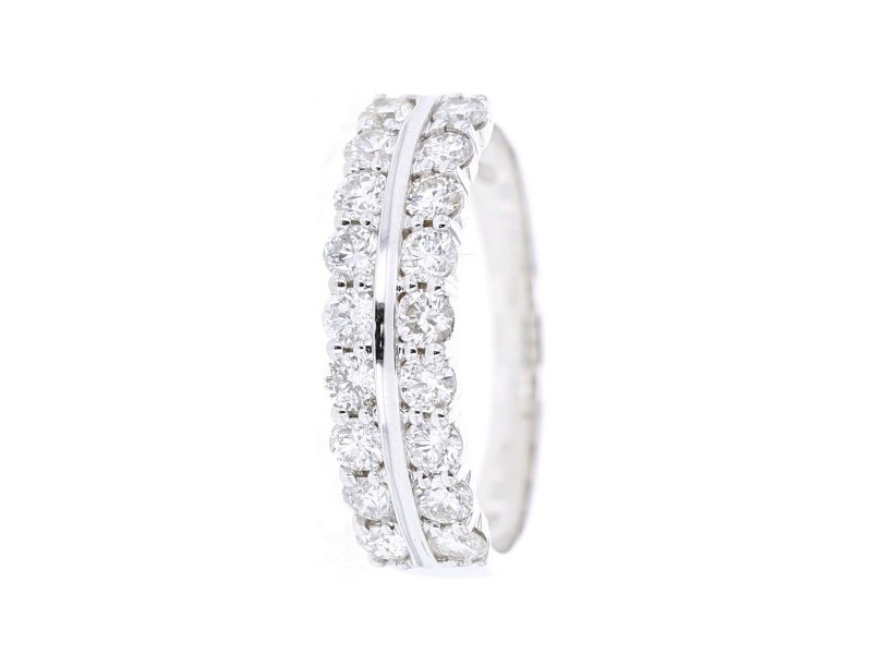 Bague double alliances diamants griffes en or blanc