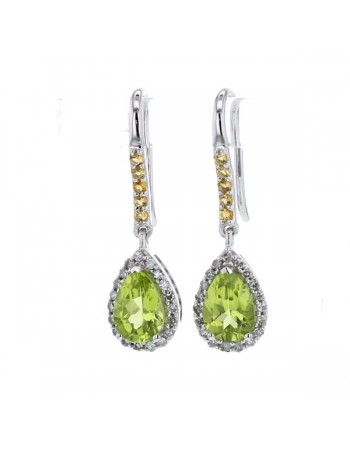 Boucles d'oreilles péridot citrine diamants en or blanc