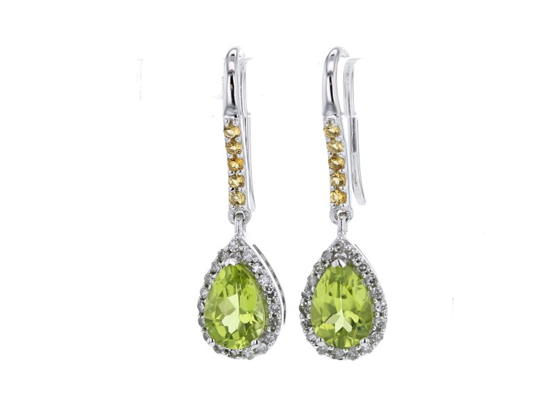 Pear cut peridot and citrine and diamonds earrings in 9 K gold