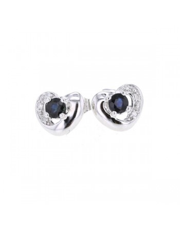 Boucles d'oreilles saphirs et diamants en or blanc