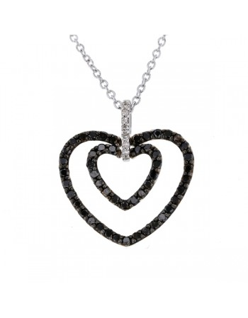 Two hearts pendant with black and white diamonds in 18 K gold