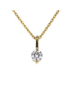 Pendentif solitaire diamants serti avec 2 griffes en or jaune
