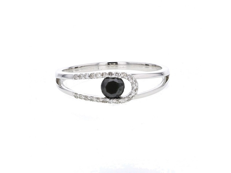 Open ring with pave set black and white diamonds in 18 K gold