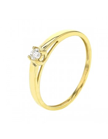 Diamond solitaire ring in 9 K gold