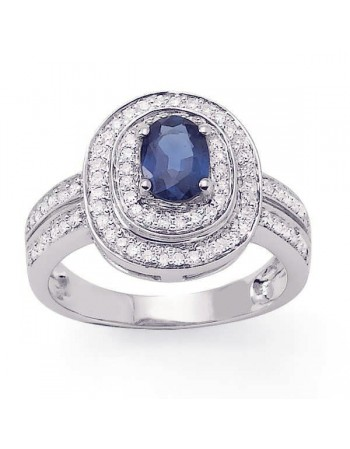Vintage style sapphire ring diamond halo in 9 K gold