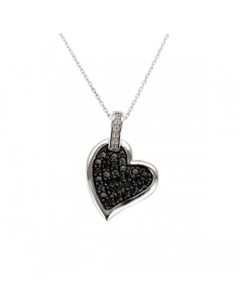 Black and white diamonds heart shape pendant in silver